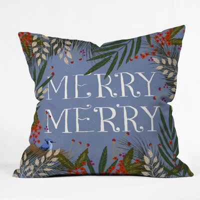 Joy Laforme Christmas Merry Merry Wreath Throw Pillow Size: 18 x 18