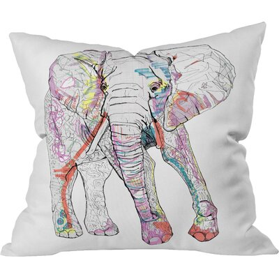 Casey Rogers Elephant Outdoor Throw Pillow Size: Small