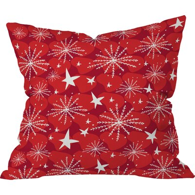 Julia Da Rocha Snow and Stars Indoor Throw Pillow Size: Large