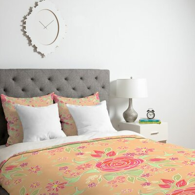 Sweet Rose Delight Duvet Cover Size: Twin