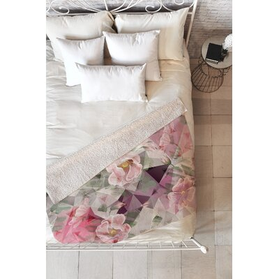 Marta Barragan Camarasa Geometric Shapes and Flowers Blanket Size: 80 L x 60 W
