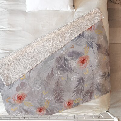 Marta Barragan Camarasa Abstract Floral with Feathers Blanket Size: 60 L x 50 W