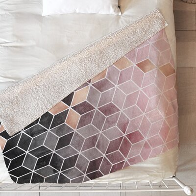 Gradient Cubes Blanket Size: 60 L x 50 W, Color: Pink/Gray