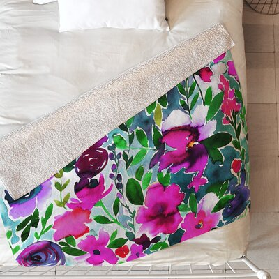 Evie Floral Blanket Size: 80 L x 60 W, Color: Purple