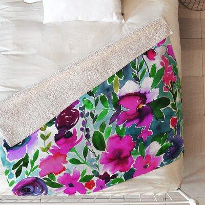 Evie Floral Blanket Size: 60 L x 50 W, Color: Purple