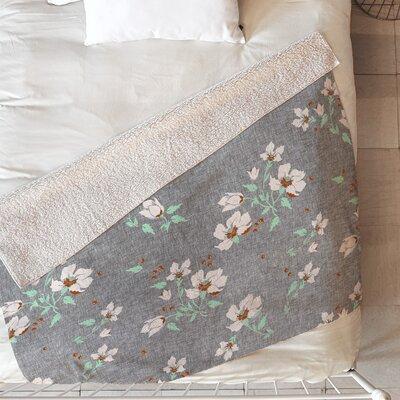 Linen Floral Blanket Size: 60 L x 50 W