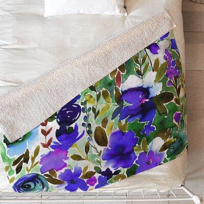 Evie Floral Blanket Size: 80 L x 60 W, Color: Blue