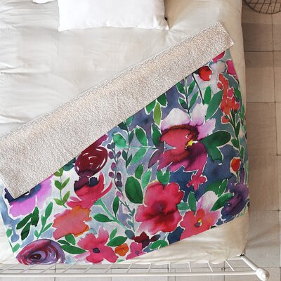 Evie Floral Blanket Size: 60 L x 50 W, Color: Red