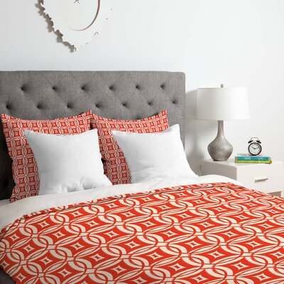 Banda Lightweight Desert Twilight Duvet Cover Size: King, Color: Red