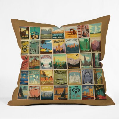Anderson Design Group City Pattern Border Throw Pillow Size: 16 H x 16 W