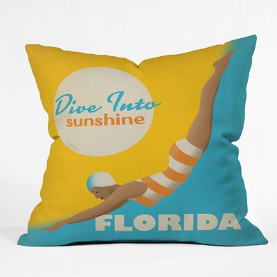 Anderson Design Group Dive Florida Throw Pillow Size: 16 x 16
