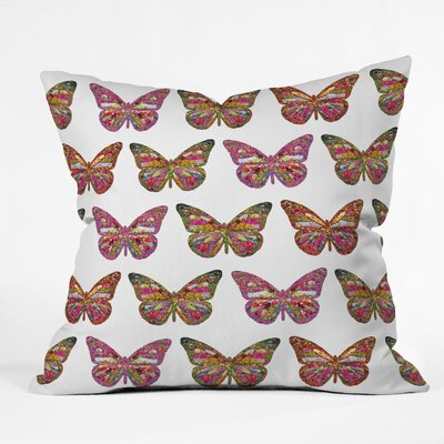 Bianca Green Butterflies Fly Throw Pillow Size: 18 x 18