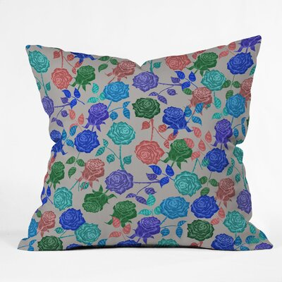 Bianca Green Throw Pillow Color: Blue Roses, Size: 18 x 18