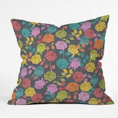 Bianca Green Throw Pillow Size: 18 x 18, Color: Red Roses