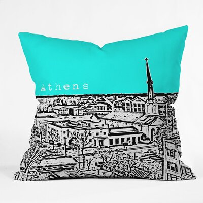 Bird Ave Athens Throw Pillow Color: Aqua, Size: 16 x 16