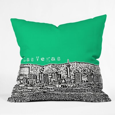 Bird Ave Las Vegas Throw Pillow Color: Green, Size: 16 x 16