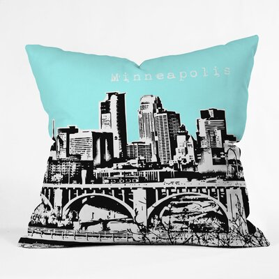 Bird Ave Minneapolis Throw Pillow Color: Sky, Size: 16 x 16
