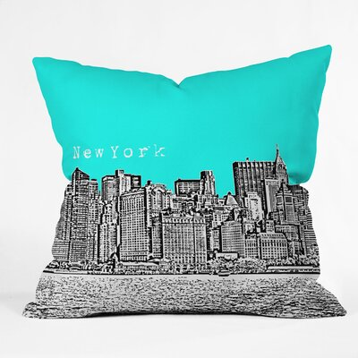 Bird Ave New York Throw Pillow Size: 18 x 18, Color: Aqua