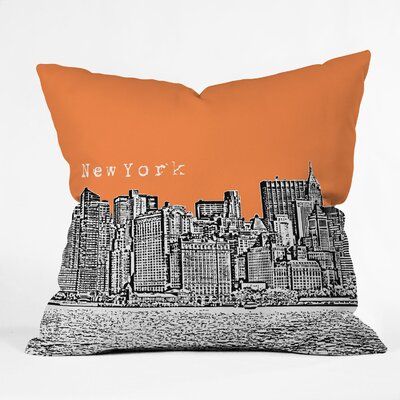 Bird Ave New York Throw Pillow Size: 18 x 18, Color: Orange