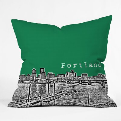 Bird Ave Portland Throw Pillow Color: Green, Size: 16 x 16