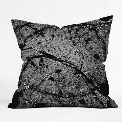 CityFabric Inc Paris Indoor/Outdoor Throw Pillow Color: Black, Size: 18 W