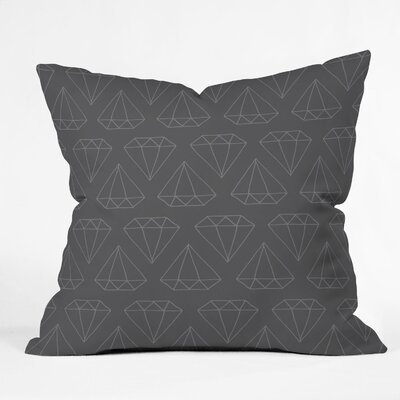 Wesley Bird Diamond Print Throw Pillow Size: 16 H x 16 W, Color: Gray Diamond Print 1