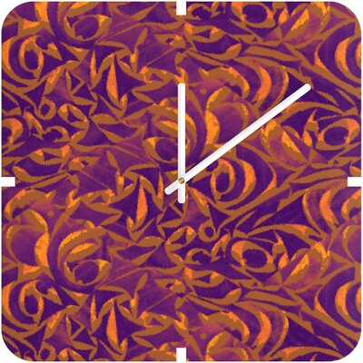 Wagner Campelo Abstract Garden Clock Color Purple Abstract Garden 1 Size Small Shape Square