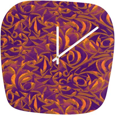 Wagner Campelo Abstract Garden Clock Size Large Color Purple Abstract Garden 1 Shape Rounded Square