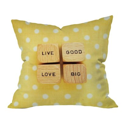Happee Monkee Live Good Live Big Outdoor Throw Pillow Size: 16 H x 16 W x 5 D
