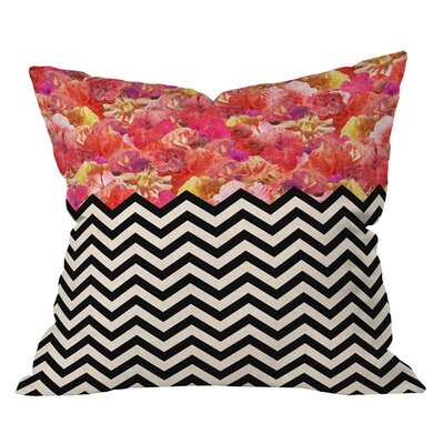 Bianca Green Chevron Flora Pillow Size: 16 x 16