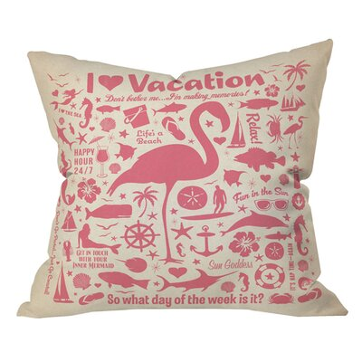 Anderson Design Group Flamingo Lounge OutdoorThrow Pillow Size: 18 H x 18 W