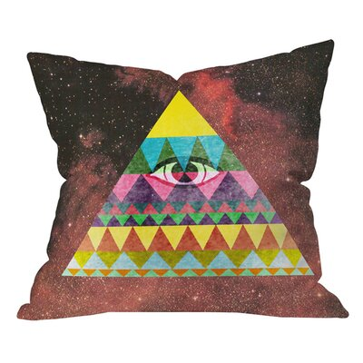 Nick Nelson Pyramid in Space Outdoor Throw Pillow Size: 18 H x 18 W
