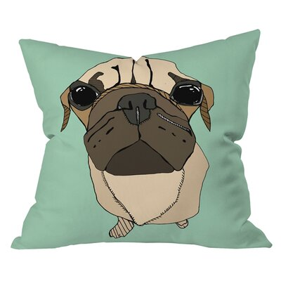 Casey Rogers Puglet Outdoor Throw Pillow Size: 16 H x 16 W