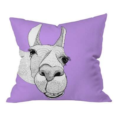 Casey Rogers Llama Outdoor Throw Pillow Size: 18 H x 18 W