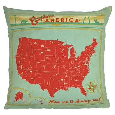 Anderson Design Group Explore America Throw Pillow Size: 18 H x 18 W