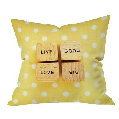 Happee Monkee Live Good Live Big Outdoor Throw Pillow Size: 18 H x 18 W x 5 D