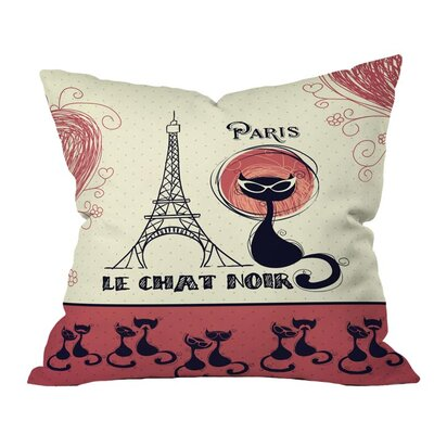 Belle 13 Le Chat Noir Outdoor Throw Pillow