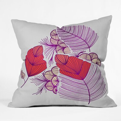 Gabi Sea Leaves Throw Pillow Size: Large