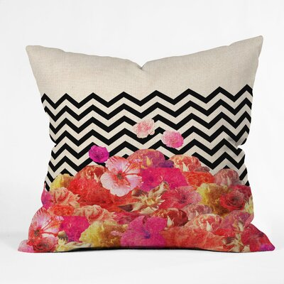 Bianca Green Chevron Flora 2 Throw Pillow Size: Large