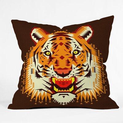 Chobopop Geometric Tiger Throw Pillow Size: Medium