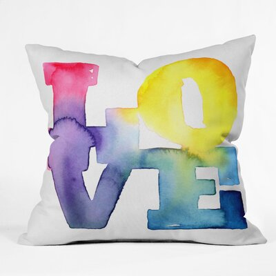 Love 4 Throw Pillow Size: 18 H x 18 W