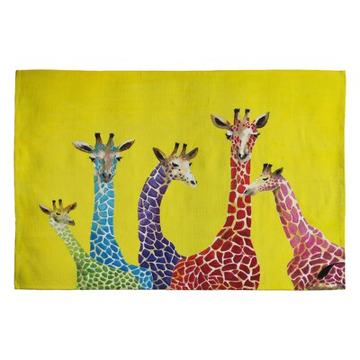 Clara Nilles Jellybean Giraffes Area Rug Rug Size: 2' x 3'