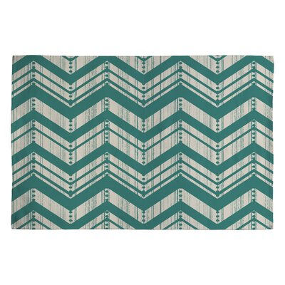Heather Dutton Weathered Blue Chevron Area Rug Rug Size: 2 x 3