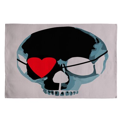 Amy Smith Skull with Heart Eyepatch Novelty Rug Rug Size: 2 x 3