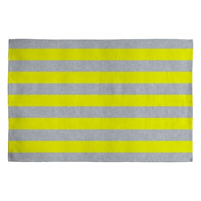 Holli Zollinger Bright Yellow/Grey Stripe Area Rug Rug Size: 2 x 3