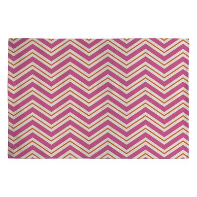 Berry Pop Pink / Ivory Chevron Area Rug Rug Size: 2 x 3