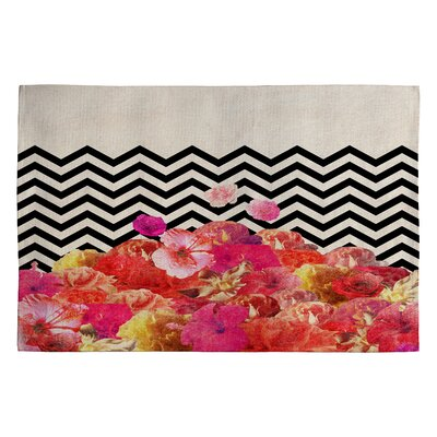 Bianca Green Chevron Flora Area Rug Rug Size: 2 x 3