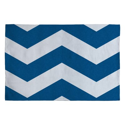 Holli Zollinger Denim Blue/White Chevron Area Rug Rug Size: 2 x 3