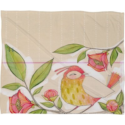 Cori Dantini Little Bird On A Flowery Branch Fleece Throw Blanket Size: Medium