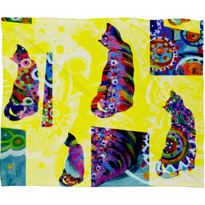 Randi Antonsen Cats 1 Fleece Throw Blanket Size: Large